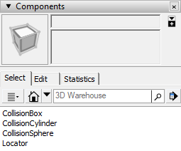 components panel with collision components